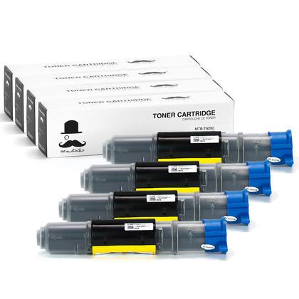 Compatible Brother TN250 Black Toner Cartridge Moustache@ - 4/Pack