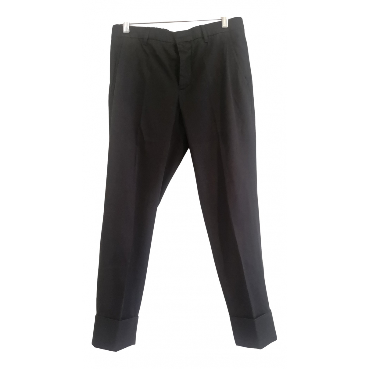 Miu Miu \N Black Cotton Trousers for Women 38 IT