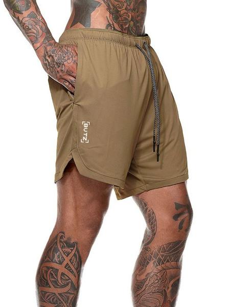 Milanoo Pantalones cortos de entrenamiento para hombres 2 en 1 Running Ligero Gimnasio Yoga Entrenamiento Pantalones cortos deportivos