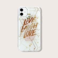 iPhone Huelle mit Goldfolie Dekor und Buchstaben Grafik