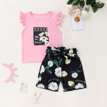 Toddler Girls Daisy Floral Ruffle Tee With Paperbag Shorts