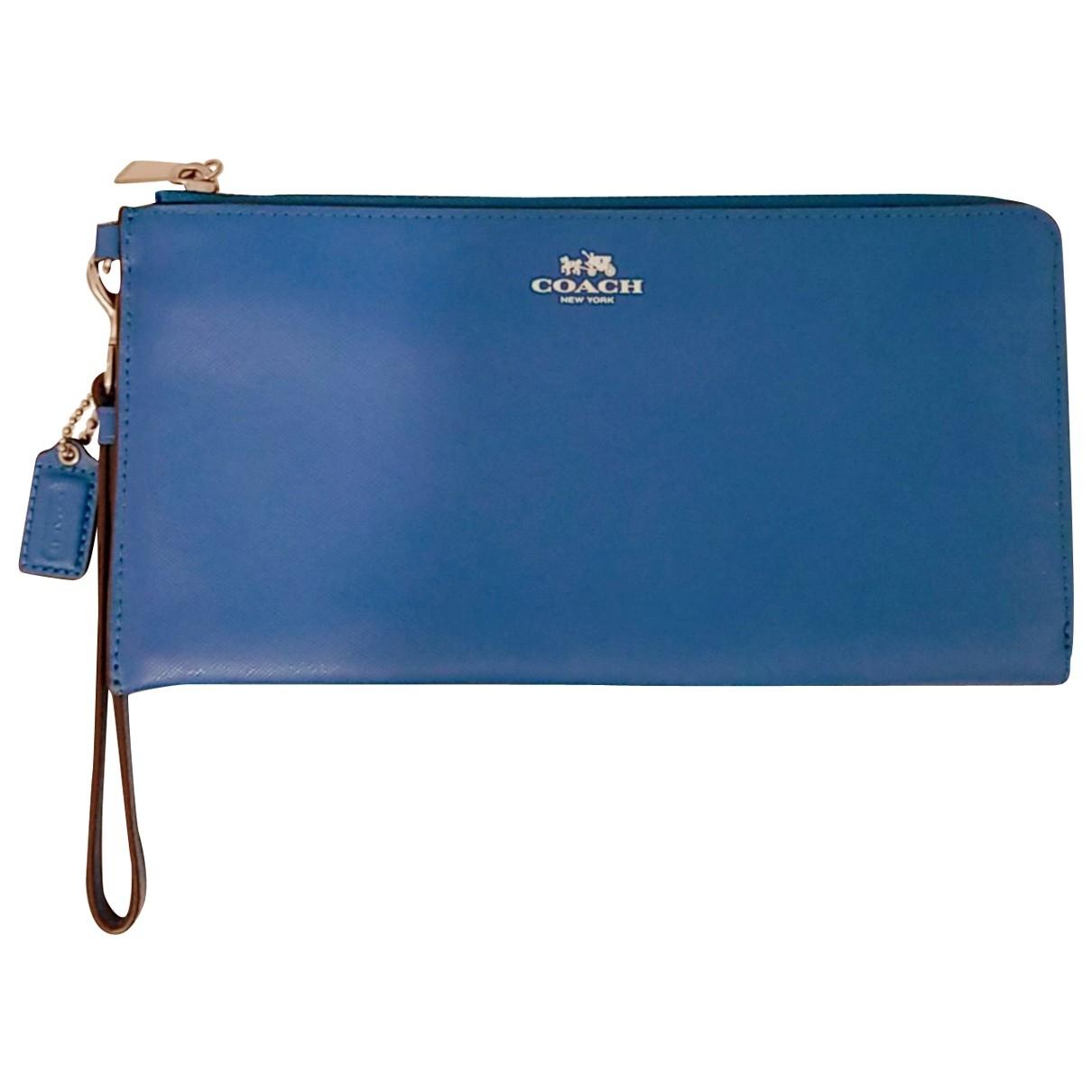 Coach - Pochette   pour femme en cuir - bleu