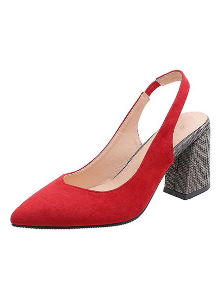 Milanoo Woman\s V-cut Slingback Pumps High Heels Pointed Toe Chunky Heel Plus Size Shoes