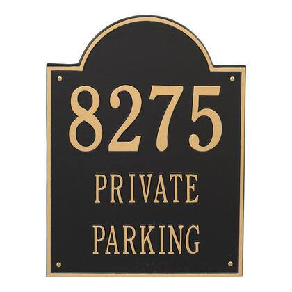 2502BG Extra Large Arch Plaque - Holds up to 3 Lines of Text in Black and Gold