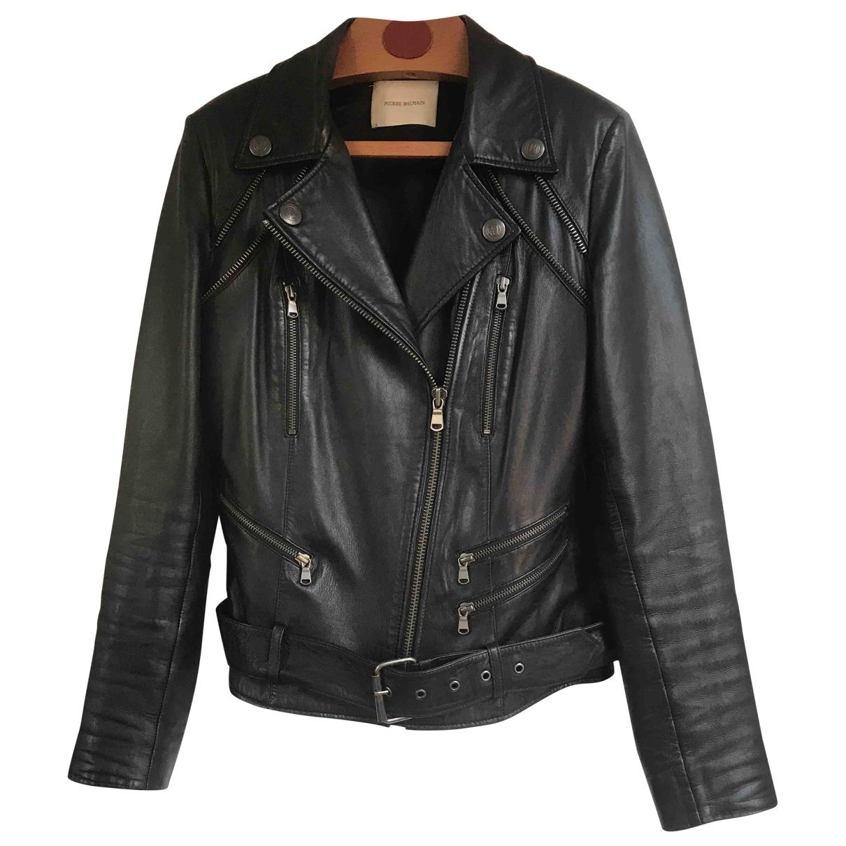 Balmain \N Black Leather Leather jacket for Women 38 FR