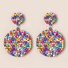 Color Beads Dropping Earrings