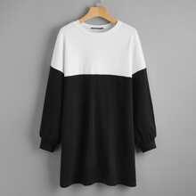 Sweatshirt mit Farbblock und sehr tief angesetzter Schulterpartie