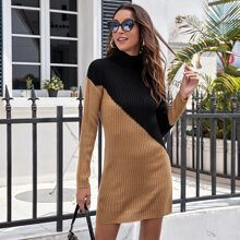 Two Tone Rib-knit Fitted Dress
