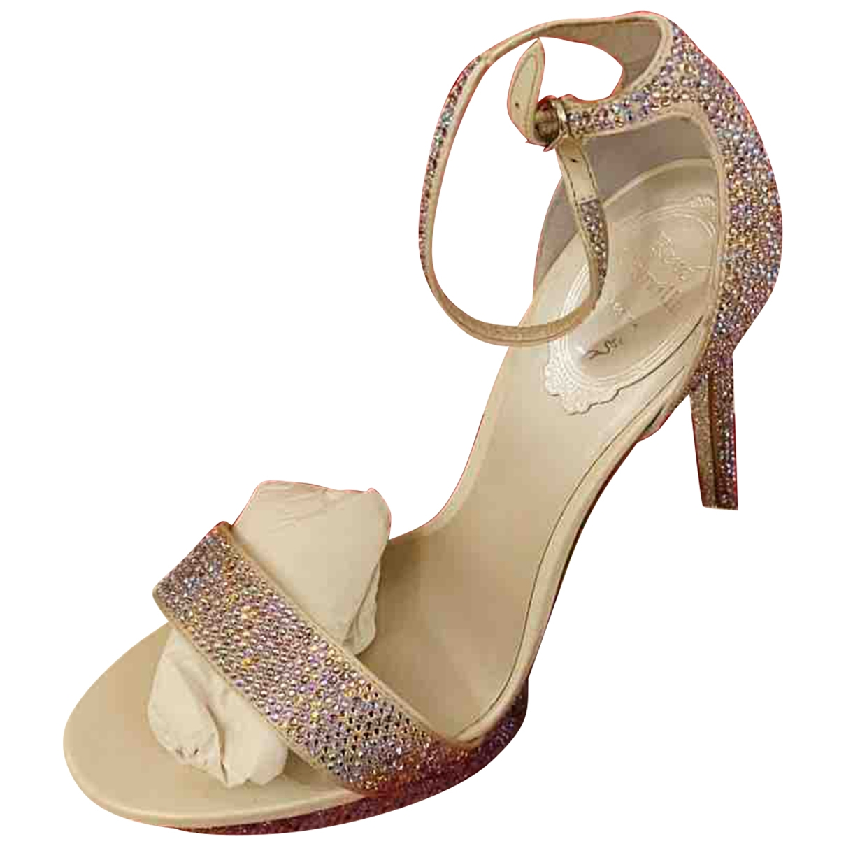Rene Caovilla \N Silver Glitter Sandals for Women 37.5 EU