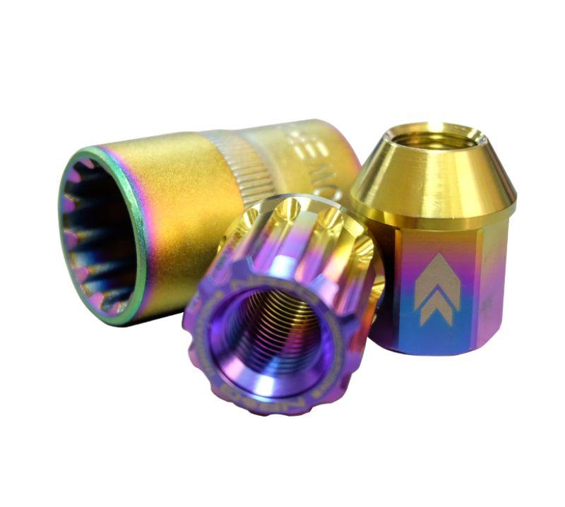 NRG LN-T200MC-21 20-piece 200 Series M12 x 1.5 Lug Nut Set Titanium NeoChrome Plus Lock Socket