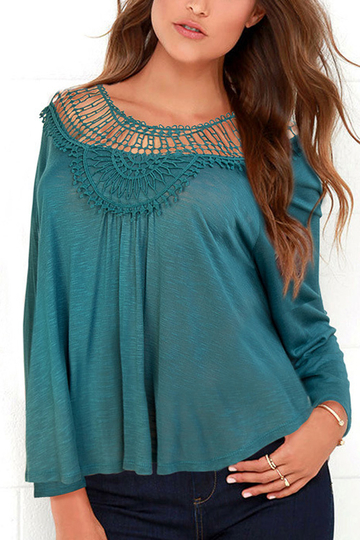 Yoins Invisible Green Loose Hollow Out Round Neck Blouse