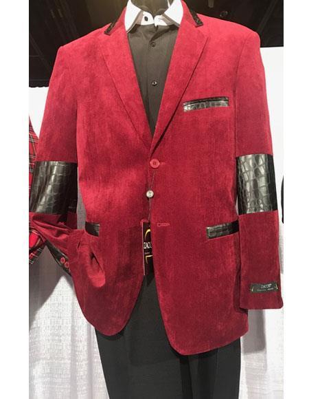 Mens high fashion Single Breasted red velvet Blazer