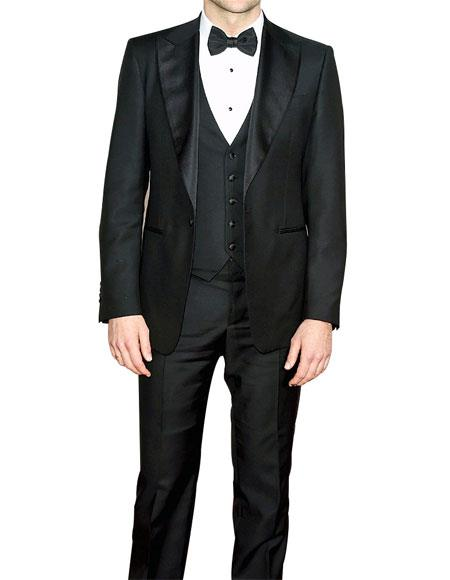 Men's Single Breasted Slim Fit Black 3 Piece Fully Lined Tuxedo Suit
