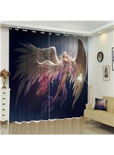 3D Animation Girl with Wings Printed Beautiful Angel Living Room Custom Curtain