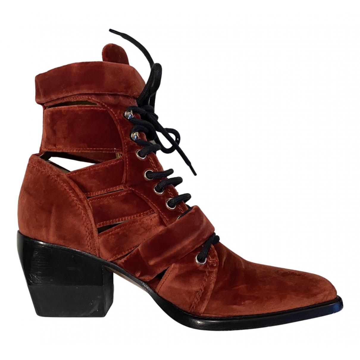Chloe - Boots Rylee pour femme en velours - marron