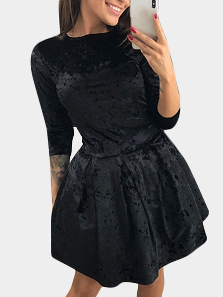 Yoins Black Plain Round Neck Flounced Hem Mini Dress