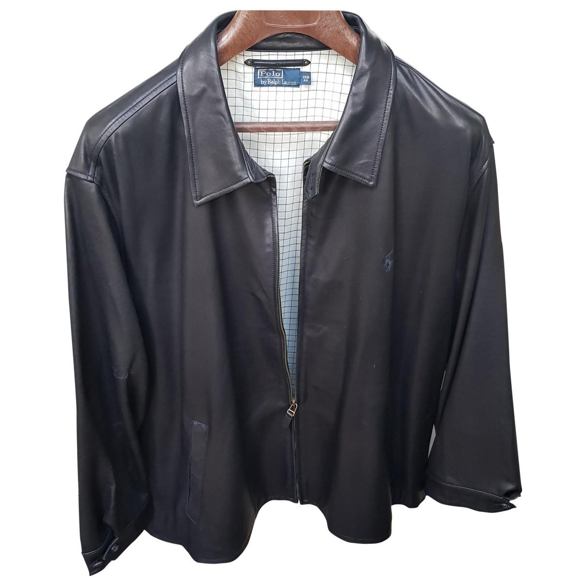 Polo Ralph Lauren \N Black Leather jacket  for Men XXXL International