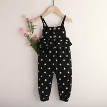 Toddler Girls Star Print Ruffle Cami Jumpsuit