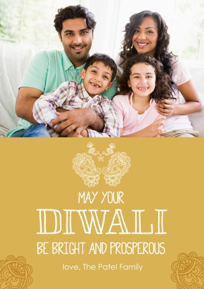 Diwali Cards 5x7 Cards, Premium Cardstock 120lb with Scalloped Corners, Card & Stationery -Bright Diwali