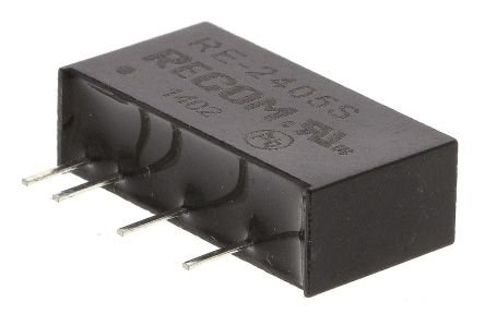 Recom RE 1W Isolated DC-DC Converter Through Hole, Voltage in 21.6 → 26.4 V dc, Voltage out 5V dc