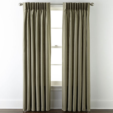 JCPenney Home Supreme Energy Saving Light-Filtering Pinch-Pleat Single Curtain Panel, One Size , Green
