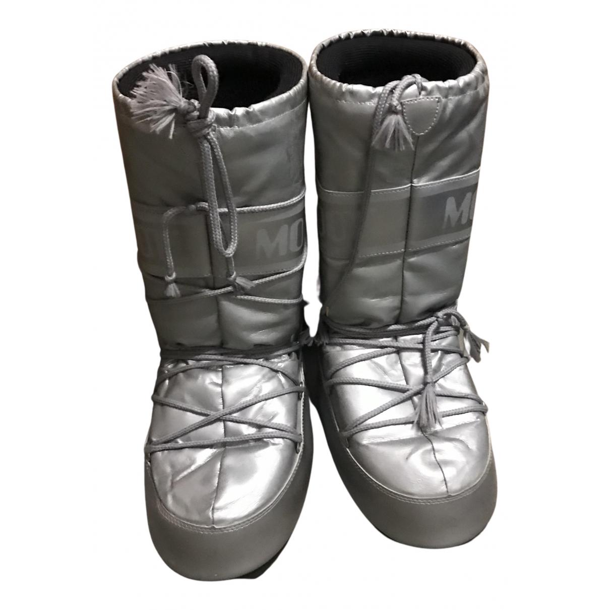 Moon Boot - Bottes   pour femme - argente