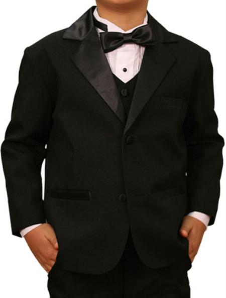 High Quality Solid Black Tuxedo Formal Boys Suits