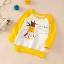 Toddler Boys Cartoon And Letter Graphic Sweatshirt