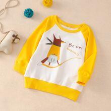 Sweatshirt mit Karikatur und Buchstaben Grafik