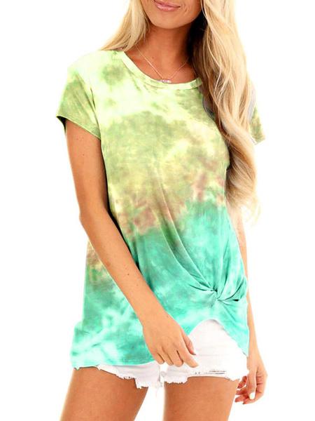 Milanoo Women Tees Light Sky Blue Tie Dye Jewel Neck Polyester Tee Shirt For Women