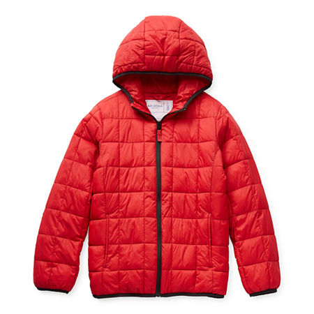 Arizona Little & Big Boys Hooded Packable Midweight Puffer Jacket, X-small (6-7) , Red