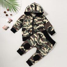 Baby Boy Camo Print Zip-up Hoodie & Sweatpants
