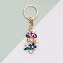 Llavero colgante de flor con diamante de imitacion