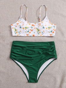 Plus Ditsy Floral Ruched Bikini Swimsuit