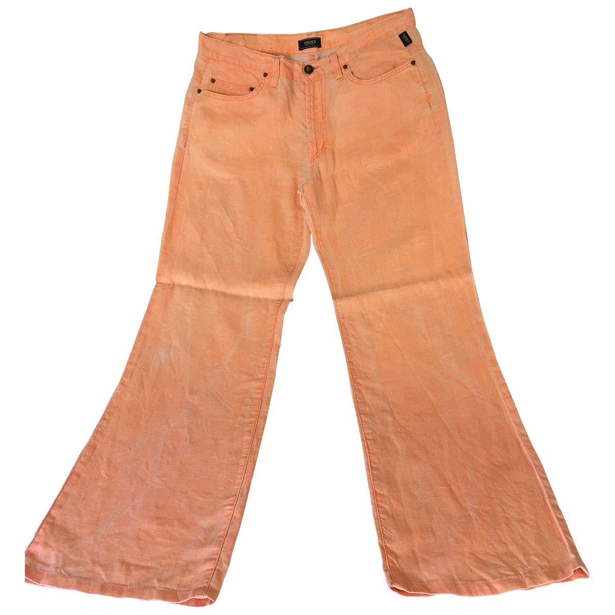 Versace \N Orange Linen Trousers for Women 46 IT