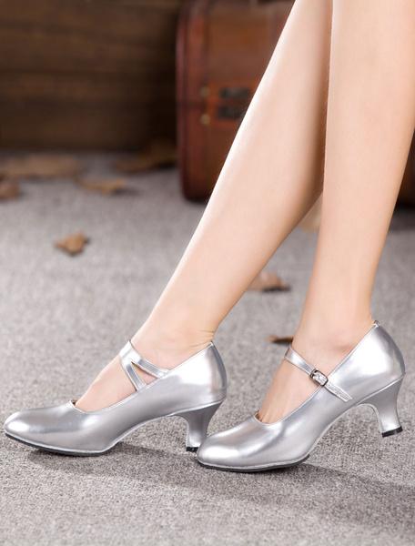 Milanoo Black Dance Shoes Women Ballroom Shoes Round Toe Latin Dancing Shoes