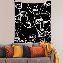 Abstract Face Print Tapestry