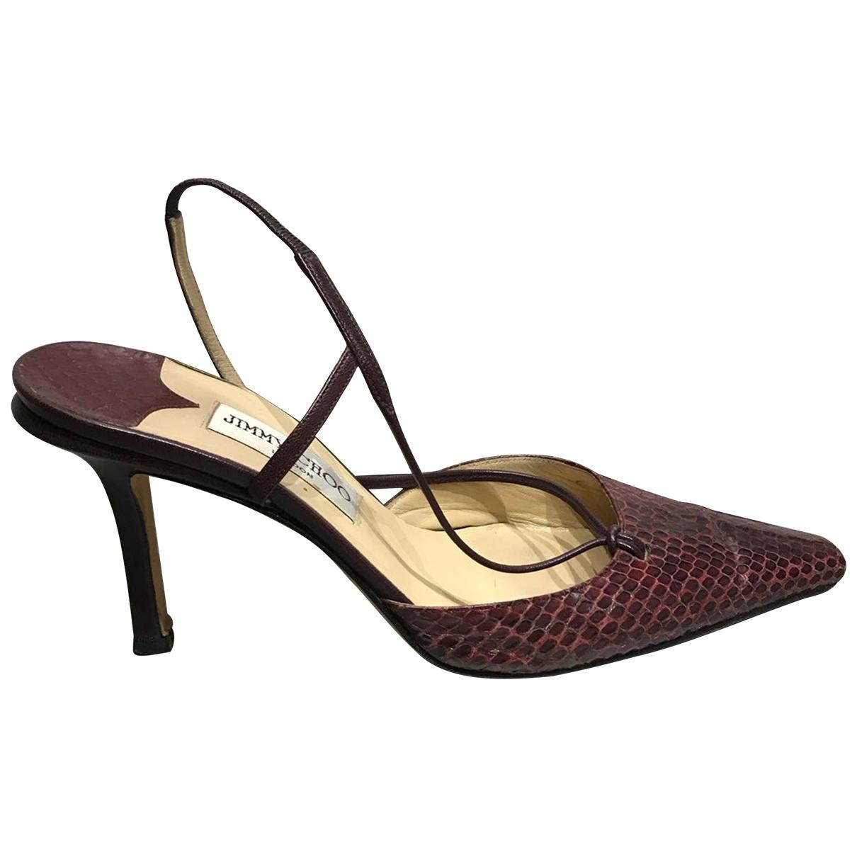 Jimmy Choo \N Burgundy Python Heels for Women 39.5 EU