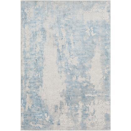 Aisha AIS-2301 10' x 14' Rectangle Modern Rug in Sky Blue  Medium Grey  Light Grey