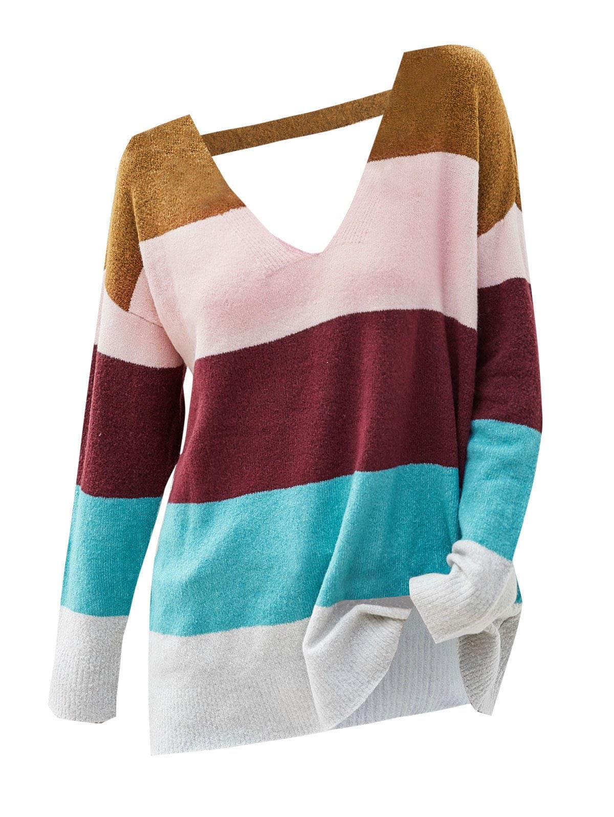 Plus Size Colorblock V Neck Sweater
