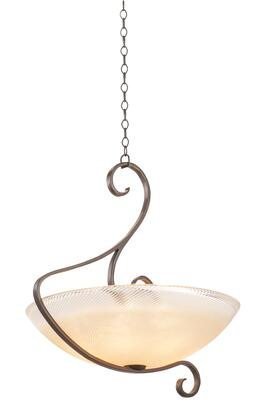 G-Cleft 4067CI/VIC 6-Light Pendant in Country Iron with Victorian Penshell Natural Bowl Glass