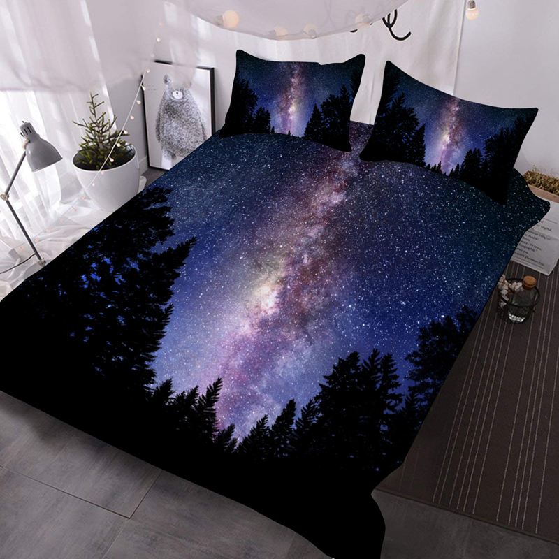 3D Purple Galaxy Lightweight Warm Soft Machine Washable 3Pcs Bedding Down Comforter Insert with 2 Pillow Cases