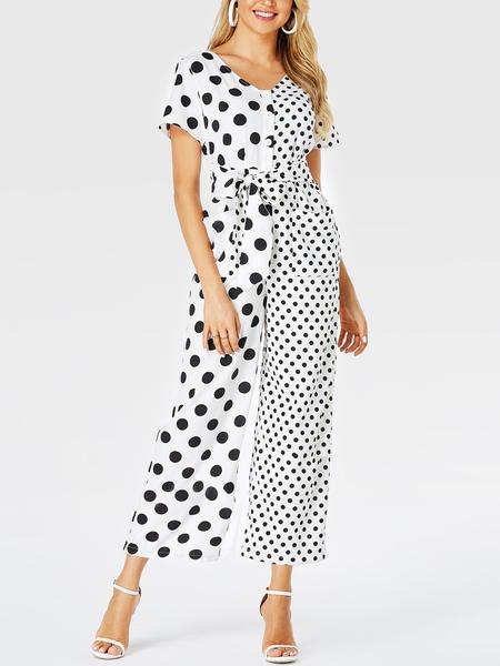 YOINS White Button Design Polka Dot Short Sleeves Jumpsuit