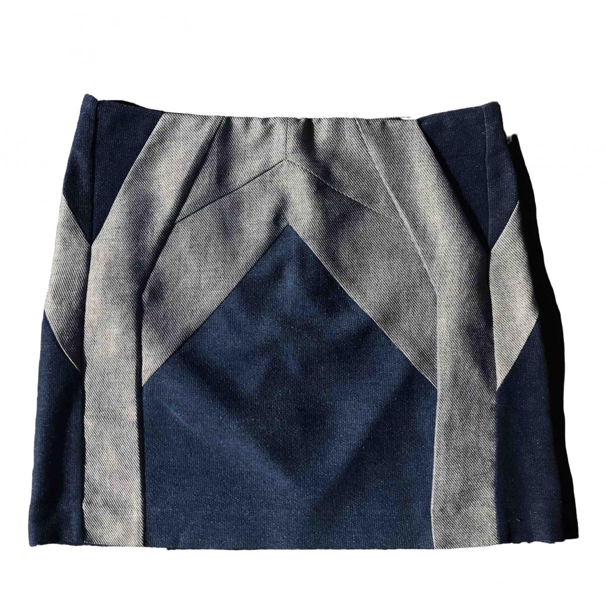 Maje \N Blue Cotton skirt for Women 40 FR