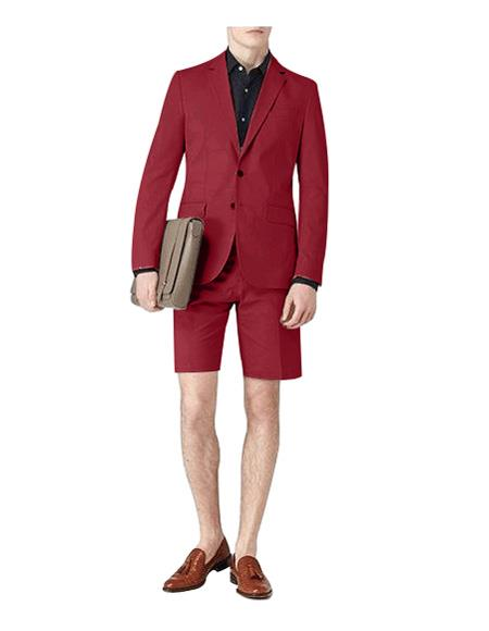 Notch Lapel Single Breasted Suit Maroon