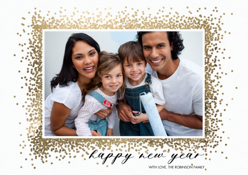 New Year's Photo Cards 5x7 Cards, Premium Cardstock 120lb with Scalloped Corners, Card & Stationery -New Year Sparkling Border by Tumbalina
