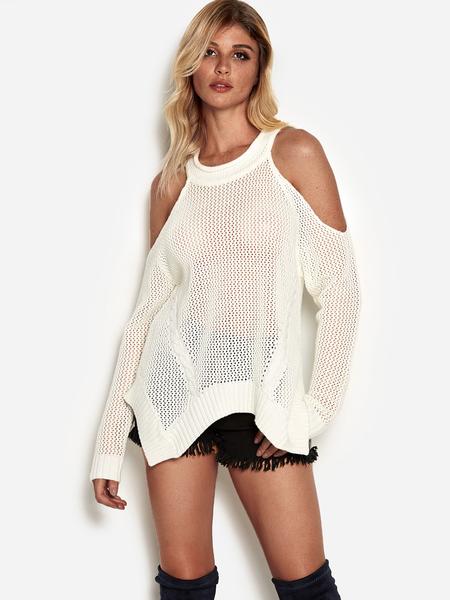 Yoins White Hollow Design Cold Shoulder Sweater With Irregular Hem
