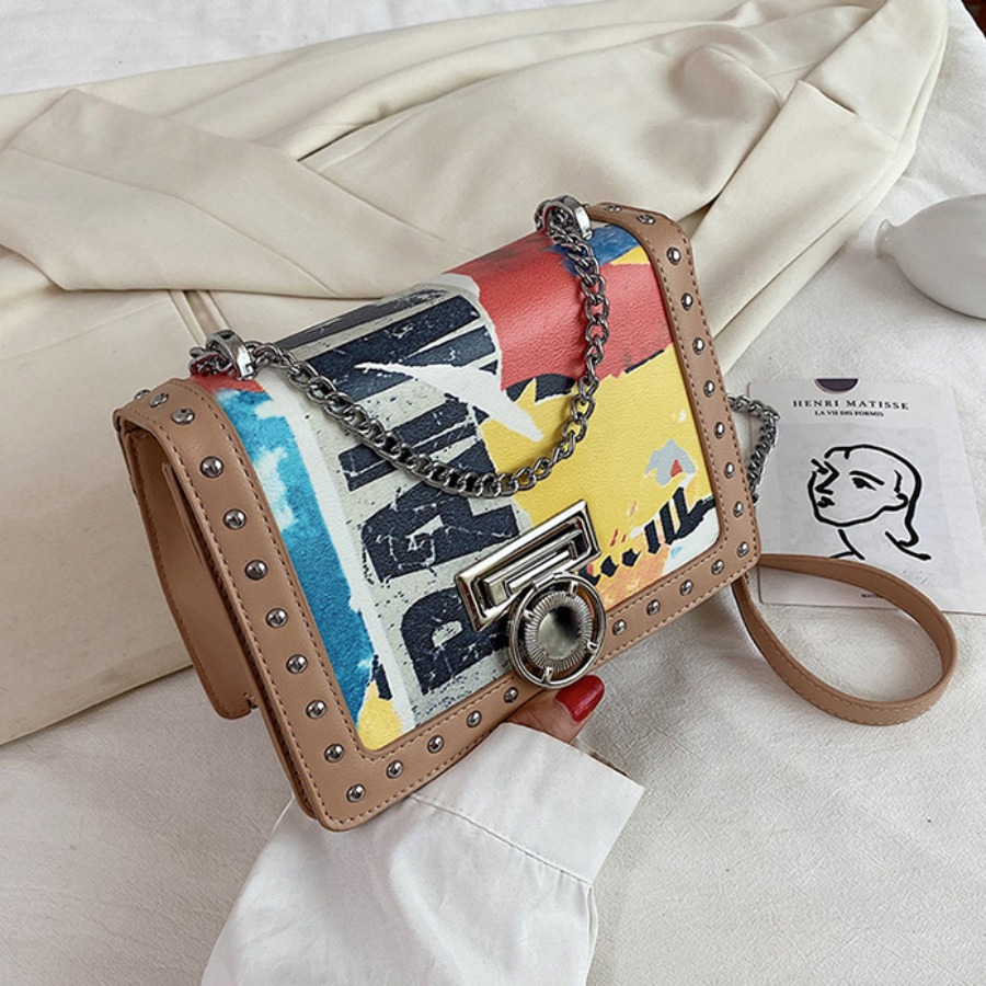 LW lovely Casual Letter Print Khaki Crossbody Bag