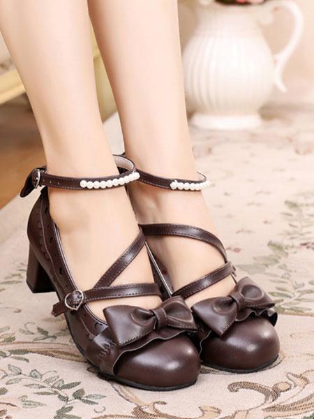 Milanoo Sweet Lolita Shoes Bow Pearl Strappy PU Puppy Heel Lolita Pumps