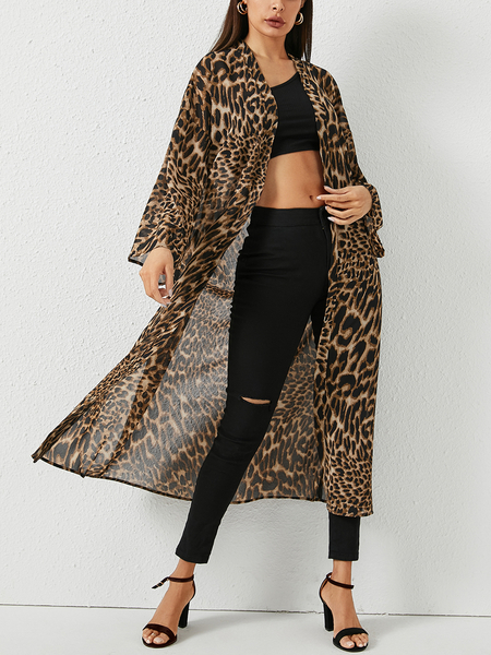 YOINS Leopard Longline Open Front Sheer Coat